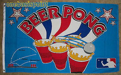 3'x5' Beer Pong Flag Fraternity College Party Games Drinks O