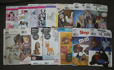 Simplicity Stuffed Animals Doll Crafts Sewing Patterns Old New Stock -