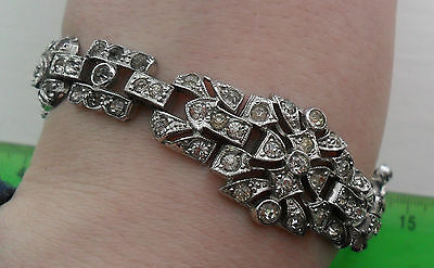 Vintage old art deco costume jewellery glass diamante chrome bracelet paste