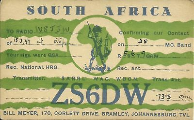 OLD VINTAGE ZS6DW SOUTH AFRICA AMATEUR RADIO QSL CARD