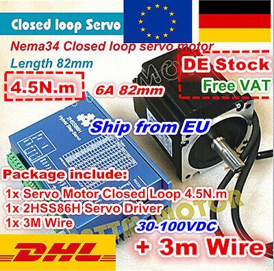 4.5N.m Servo Motor 82mm NEMA34 Closed Loop & 6A 70V HSS86H Driver CNC Kit -DE