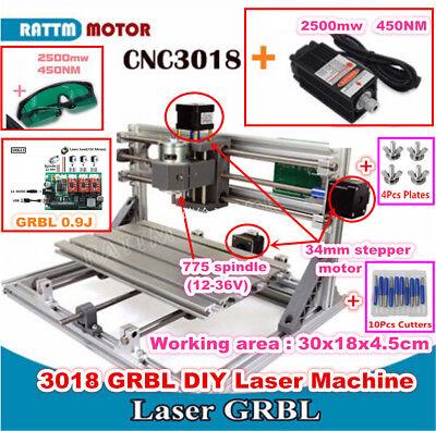 3 Axis Diy Desktop Cnc 3018 2500mw Laser Router Kit Engraving Milling Machine