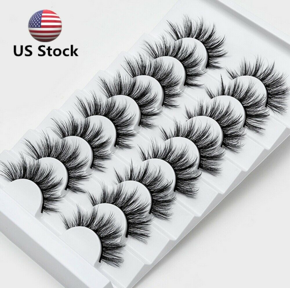 Top 8 Pairs 3D Mink False Eyelashes Wispy Cross Fluffy Exten