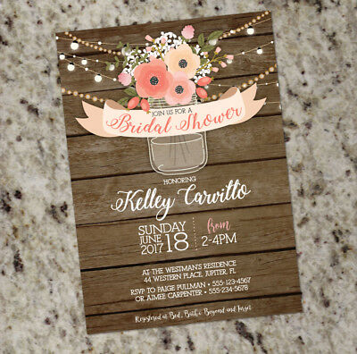 Rustic Bridal Shower Invitation - Mason Jar / Barnwood - Rustic Shower Invites