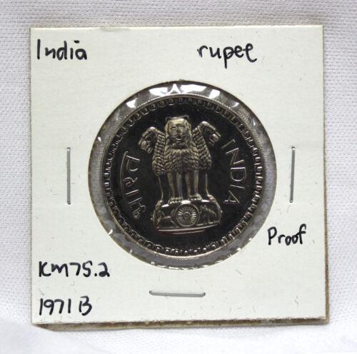 1971 B India Rupee Proof KM# 75.2 (IN15)