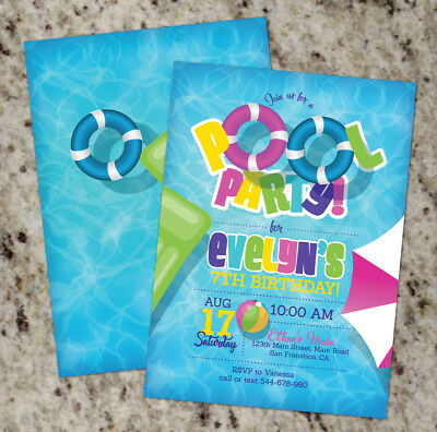 Girl Pool Party Invitations / Pool Party / Summer / Pool Birthday Invite - Girl Birthday Invitations