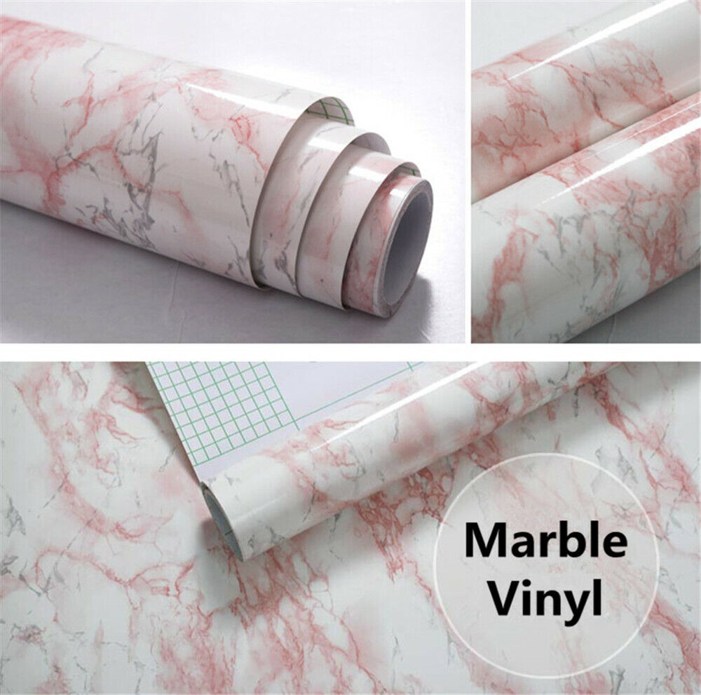 high glossy pink marble grain textured pvc