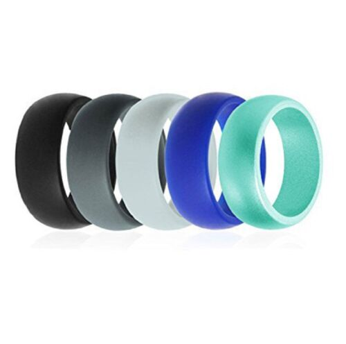 5 Pack Silicone Wedding Engagement Ring Men Women Rubber Band Gym Sports Us
