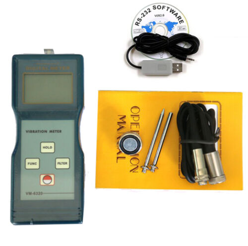 Digital Vibration Analyzer Meter Vibrometer Instrument RS232 Software With Cable