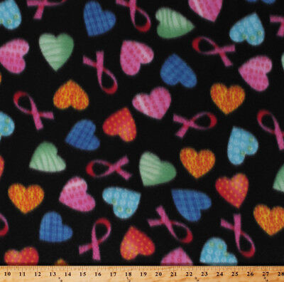 Pink Ribbons Breast Cancer Awareness Hearts on Black Fleece Fabric Print A333.08 Breast Cancer Fleece Fabric