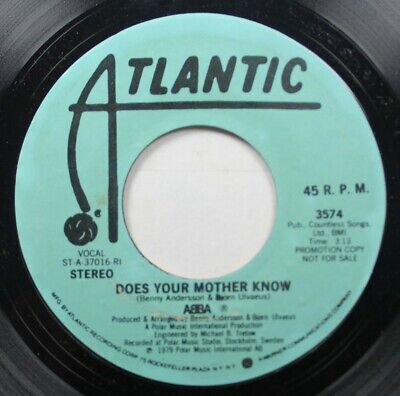 Rock Promo 45 Abba - Does Your Mother Know / Does Your Mother Know On Atlantic