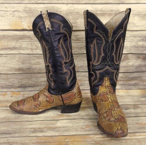 Larry, Mahan, Cowboy, Boots, Black, Leather, Snakeskin, Mens, Size, 11, D, Snake, Western,