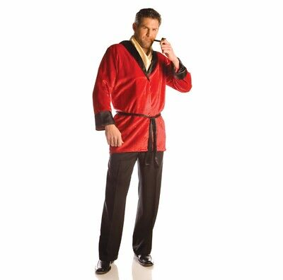 Playboy Smoking Jacket Costume (Smoking Jacket Red Robe Hugh Hefner Costume Playboy Coat Faux Velvet Mens)