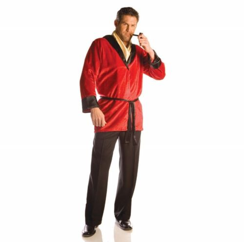 ADULT MENS SMOKING JACKET COSTUME RED BATH ROBE HUGH HEFNER PLAYBOY MILLIONAIRE
