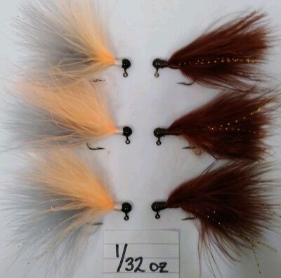 6pk Hand Tied Marabou Jigs Trout Crappie Bass Walleye  1//32oz   Gray