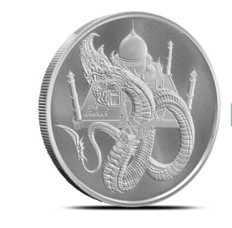 THE INDIA DRAGON WORLD OF DRAGONS 1 OZ SILVER ROUND BU IN CAPSULE * 5TH ISSUE *