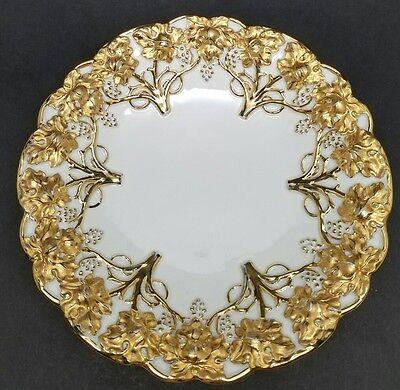 Antique Meissen Rococo Grapes Heavy Gold Gilt Porcelain Centerpiece Charger Bowl