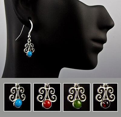 Sterling Silver Fancy Scroll Gemstone Earrings Choice of Coral, Jade or (Gemstone Scroll)