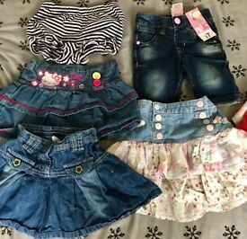 Girls shorts and skirts 12-18 months