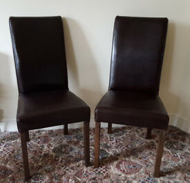 Dark brown leather look dining chairs
