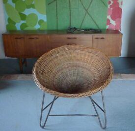 Vintage Wicker Chair on Hairpin Legs Mid-century 50s 60s