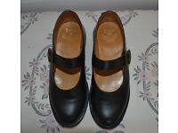 Dr Marten womens' shoes, size 5. Black, 'Mary Jane' with buckle strap.
