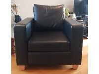Two Used Black Armchairs W86xH63cm