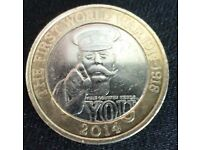 RARE LORD KITCHENER 2 POUND COIN ROYAL MINT ERRORS