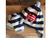 Baby Boden Bus Bobble Hat and Mitten set EUC 2-3