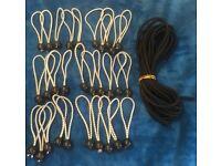 """Lastoflex elastic bungee rope 10m 8mm black + 30 bungee ball cords loops 5mm 6"""""""