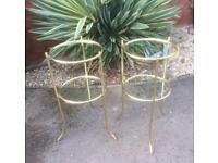 Pair of Vintage Brass Maison Jansen Style Bedside-Side Tables