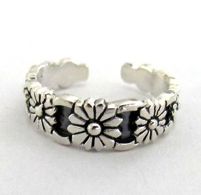 Sterling Silver 7 Flowers size small-medium adjustable toe ring