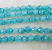 8mm Natural Brazilian Aquamarine Faceted Round Loose Beads