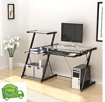 Glass Computer Desk Bookcase Student Workstation Office Home Furniture Studio