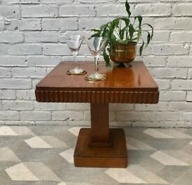 Vintage Art Deco Square Coffee Table Wood #672