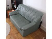 SOFA 2-seater, nice firm couch, leather, teal colour.