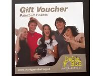 Paintball voucher for upto 10 people with no time limit, valued at £100.