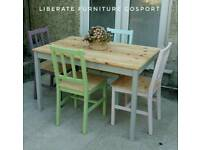 Lovely multicolour solid pine table and chair set