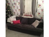 2 x Large Silver/Grey/Black Modern Sofa s URGENT SALE NEEDED