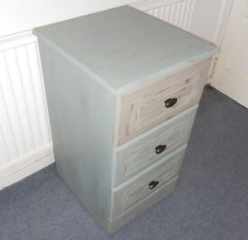 Painted 3 Drawer Chest on Casters, Bedside, Office Filing