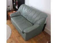 SOFA 2-seater, nice firm couch, leather, teal colour, quite compact. Small