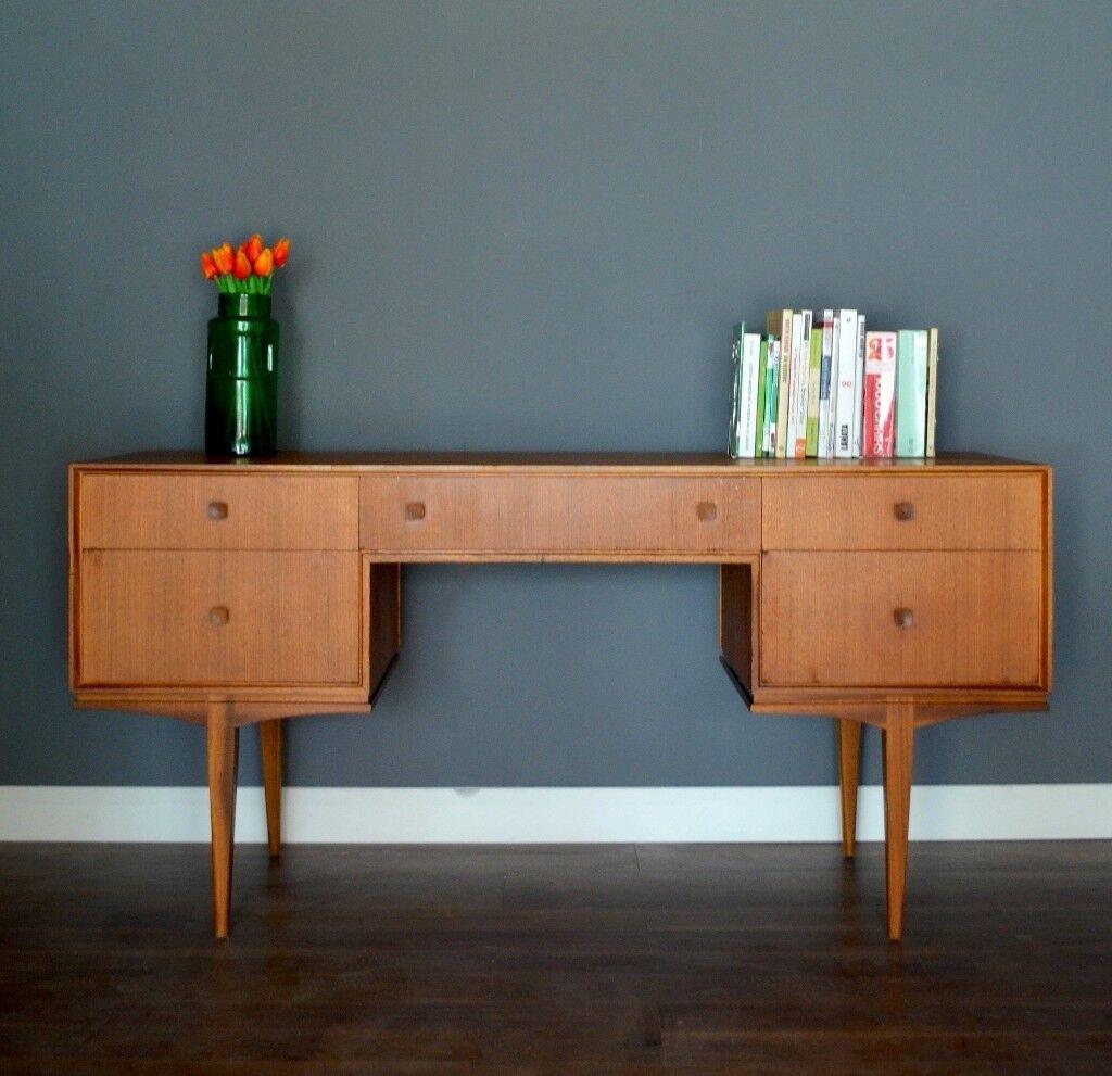 Vintage Danish Teak Desk Dressing Table Drawers Sideboard