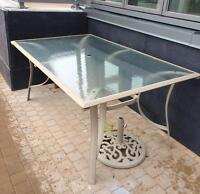 Patio Table with Glass top and Umbrella