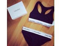 Women's Ck Sets (Bralette& Brief/Thong) ALL SIZES BLACK, GREY & WHITE