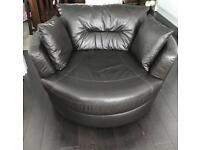 DFS Leather Swivel Sofa Dark Brown