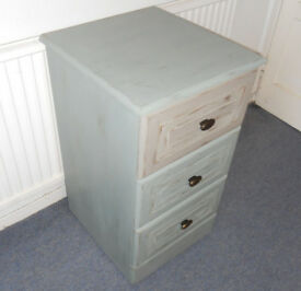 Painted 3 Drawer Chest, Bedside, Office Filing, on Casters