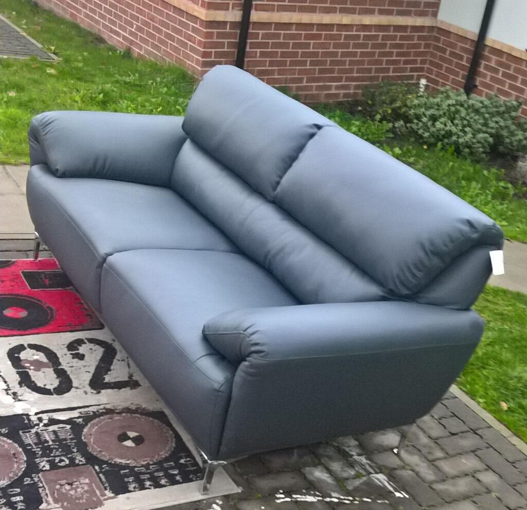 exdisplay enzo 3 seater grey leather sofa
