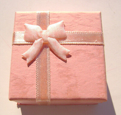 1579pk Gift Box Ring Studs Paper Pink Peach With Ribbon Bow
