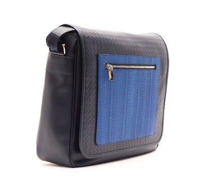 Billionaire Couture Men's Messenger Bag Black/Blue Python Leather 100% Original  ()