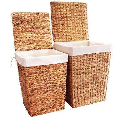 KMH® 2 Set Wäschekörbe Wäschekorb Wäschebox Wäschesammler Körbe Wasserhyazinthe